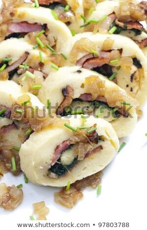rouler · de · pomme · de · terre · épinards · lard · repas · nutrition - photo stock © phbcz