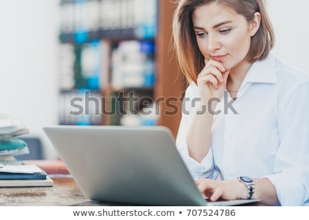 women reading emails on laptop stock photo © photography33