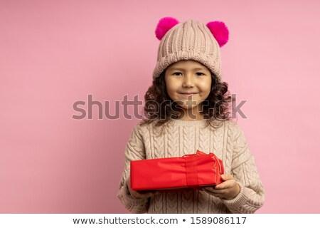 lovely brunette in winter hat #2 Stock photo © dolgachov
