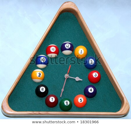 wall clock in snooker hall in triangle frame shape stock photo © inxti