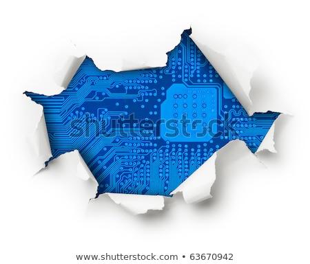 electronics visible through broken white wall stock photo © pzaxe