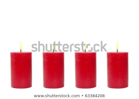 vermelho · vela · isolado · branco · festa · aniversário - foto stock © ozaiachin