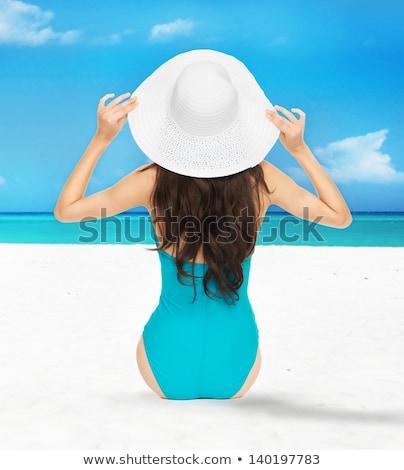 Foto stock: Deportivo · nina · bikini · arena · blanca · colorido · feliz