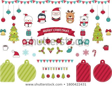 hóbortos · rénszarvas · karácsony · fények · girland - stock fotó © komodoempire
