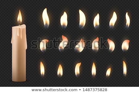 samotny · Świeca · ciemne · drewniany · stół · ognia · czarny - zdjęcia stock © freesoulproduction