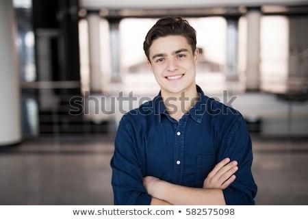 笑みを浮かべて · 若い男 · ポーズ · スタイル · 入れ墨 - ストックフォト © stockyimages