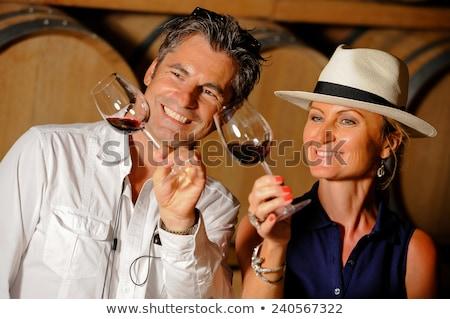 Foto stock: Man Tasting Red Wine On Tour