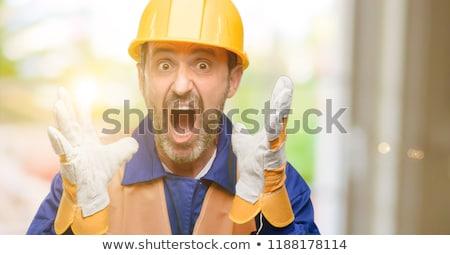 Scioccato ragazza costruzione home lavoro Foto d'archivio © photography33