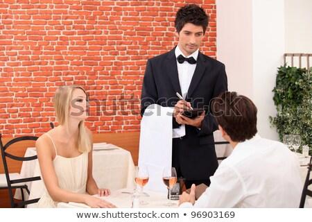 casal · velho · restaurante · bom · tempo · comida · amor - foto stock © photography33
