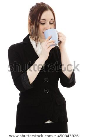Mulher jovem sorvo café branco feliz Foto stock © wavebreak_media