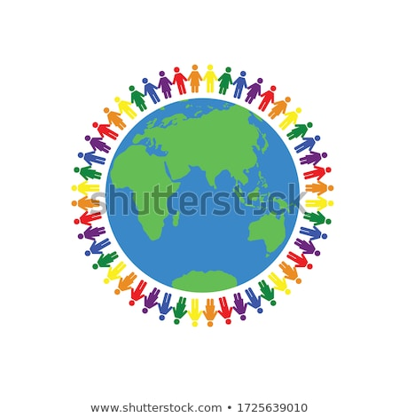 rainbow colored people around globe stock photo © vectomart