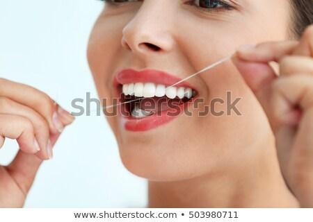Ağız diş ipi beyaz el sağlık Stok fotoğraf © wavebreak_media