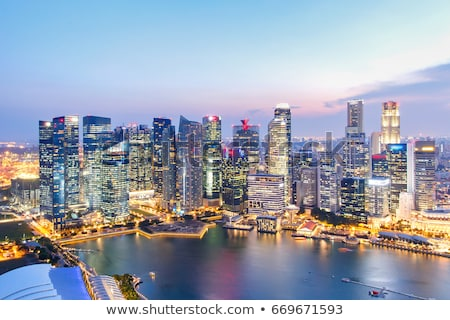 シンガポール 金融街 タウン 美しい 日没 ビジネス ストックフォト © joyr