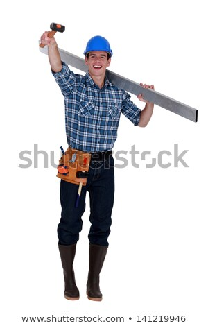 Cheerful builder holding rubber mallet in the air Stock photo © photography33