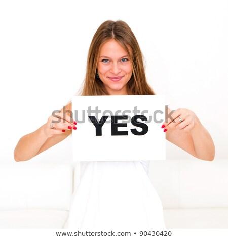 mulher · conselho · sim · feliz · retrato · mulher · jovem - foto stock © dacasdo