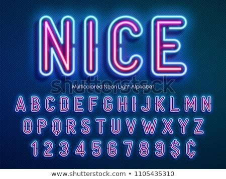 Stock fotó: Izzó · neon · betűtípus · fényes · i · betű · fekete