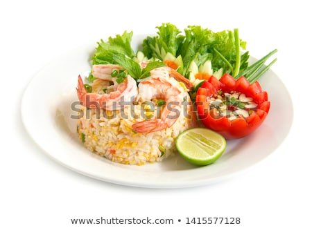 Thai étel sült rizs közelkép zöld tányér Stock fotó © stoonn