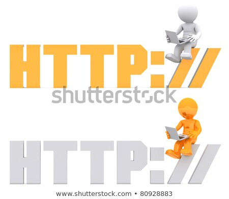 3d character sitting on HTTP sign. Stock photo © Kirill_M