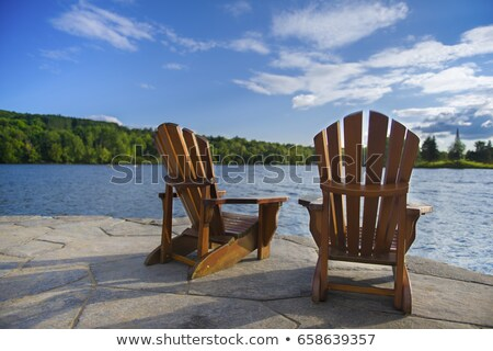 Pont chaises canot deux traditionnel plage Photo stock © danielbarquero