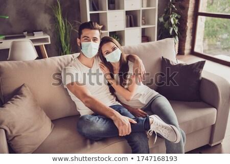 Сток-фото: счастливым · пару · маске · изолированный · белый · девушки