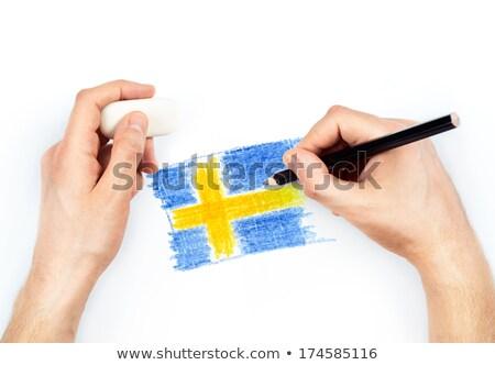 Mãos lápis bandeira Suécia branco caneta Foto stock © vlad_star