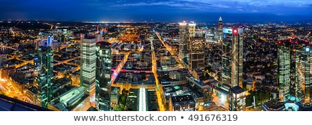 Duitsland · Frankfurt · hoofd- · skyline · zonsondergang - stockfoto © meinzahn