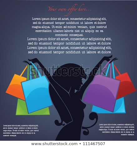 Red hair woman with shopping bags, vector illustration Stock photo © carodi