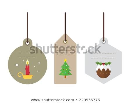 Noel etiket vektör hediye geri Stok fotoğraf © LittleLion