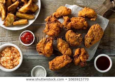 жареная курица кетчуп куриные обеда еды блюдо Сток-фото © M-studio