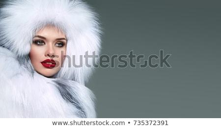 красивая · женщина · белый · шуба · Hat · женщину · Sexy - Сток-фото © amok