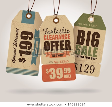 collection of vintage shop labels   sales and offers stock photo © mischoko