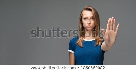 Jovem loiro mulher ignorância sorridente Foto stock © dash
