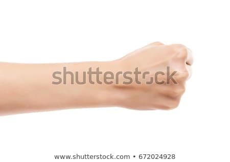 女性 手 こぶし 孤立した 白 背景 ストックフォト © bloodua