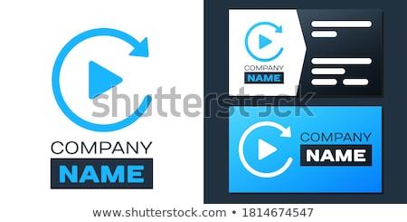 ストックフォト: Video Circular Vector Blue Web Icon Button