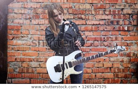 cute · blond · meisje · gitaar · witte · muziek - stockfoto © sumners