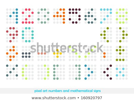 rounded pixel art numbers and mathematical signs stock photo © slunicko