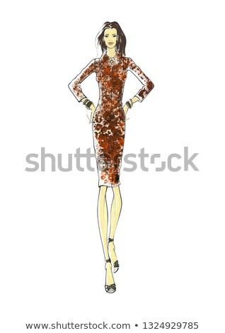 Jeunes modèle Leopard costume isolé blanche Photo stock © Elnur