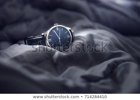 luxe · horloge · zwarte · leder · witte · goud - stockfoto © caimacanul