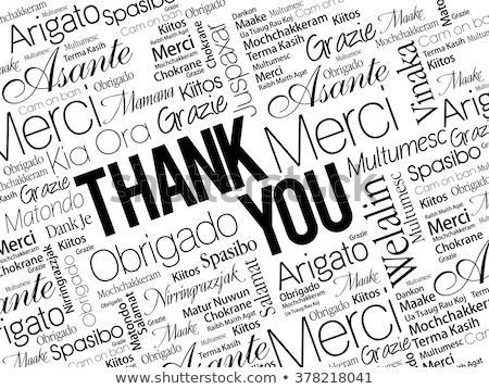dziękuję · kartkę · z · życzeniami · projektu · biały · tekst · podpisania - zdjęcia stock © irisangel