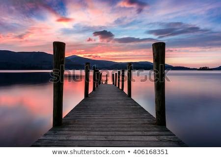 木製 湖水地方 風光明媚な 湖 ビーチ 空 ストックフォト © chris2766