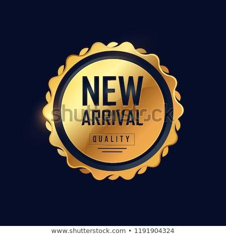 Nieuwe aankomst gouden vector icon ontwerp Stockfoto © rizwanali3d