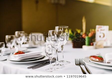 роскошь · очки · набор · ресторан · таблице · черно · белые - Сток-фото © amok