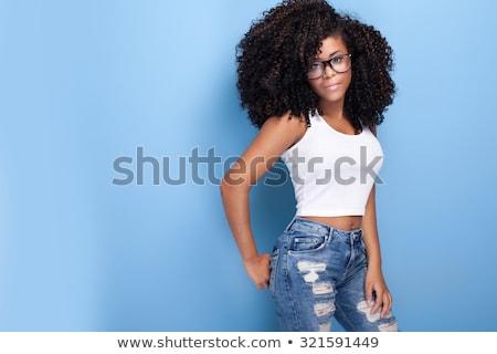 stúdió · portré · afrikai · modell · gyönyörű · pózol - stock fotó © neonshot