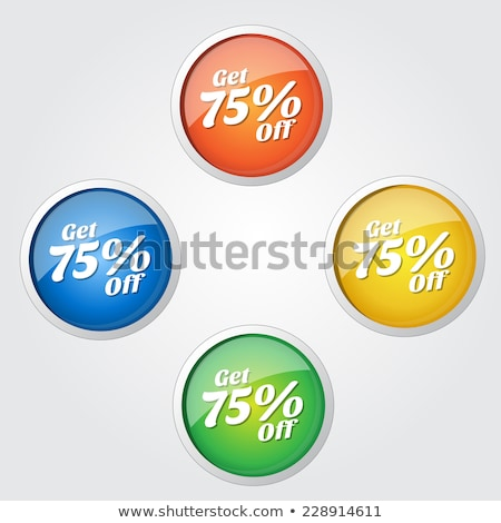 Get 75 Percent Yellow Vector Icon Button Stock photo © rizwanali3d