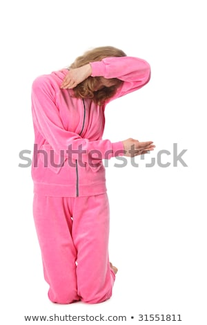 Stock photo: Girl in pink clothes represents  letter f