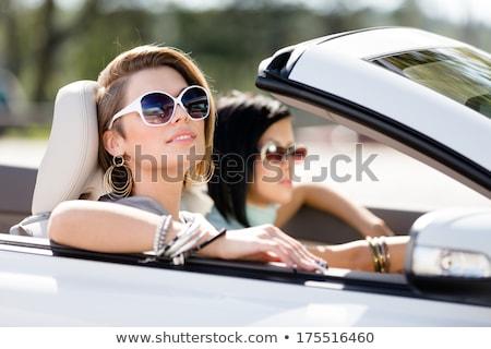Dwa młodych dziewcząt jazdy kabriolet szczęśliwy Zdjęcia stock © vlad_star