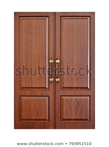 Foto stock: Porta · de · entrada · marrom · dobrar · asa · madeira · casa