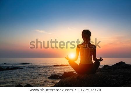 девушки медитации закат иллюстрация спорт фитнес Сток-фото © adrenalina