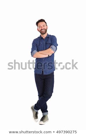 jóképű · férfi · áll · kezek · jóképű · felnőtt · férfi - stock fotó © deandrobot