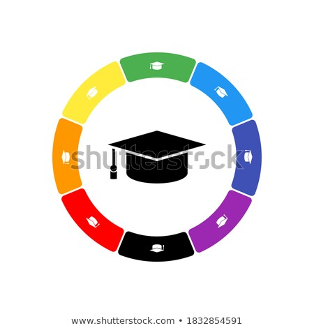 Graduated rainbow colours circles on black. Stock photo © latent